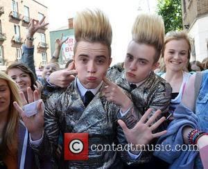 John Grimes and Edward Grimes Jedward get mobbed by their female fans outside Universal Music offices on Aungier Street, so...