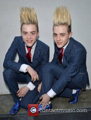 John Grimes and Edward Grimes, aka Jedward arrive back at Dublin Airport after performing at the Eurovision 2012 song contest...
