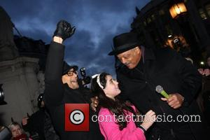 American civil rights activist Reverend Jesse Jackson addresses hundreds of protesters gathered at St Paul's as part of the Occupy...