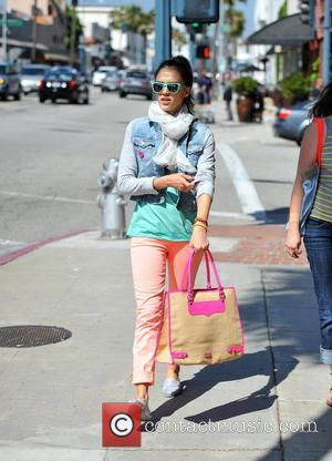 Jessica Alba  arrives at Le Pain Quotidien for lunch in Beverly Hills with a female friend. Los Angeles, California...