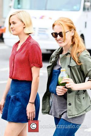 Jess Weixler and Jessica Chastain  on the set of her new movie 'The Disappearance of Eleanor Rigby' in TriBeca,...