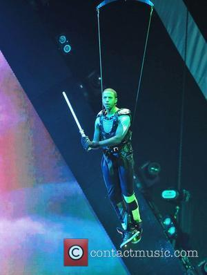 Marvin Humes of JLS performs on the opening night of their 4th Dimension tour at the Liverpool Echo Arena. Liverpool,...