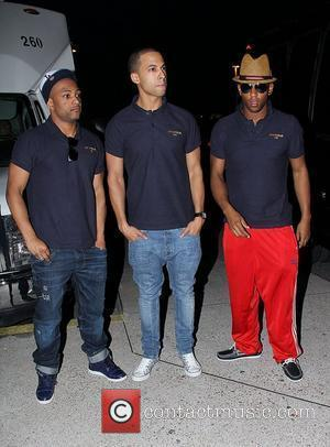 Jonathan 'GB' Gill, Marvin Hume and Oritse Williams of JLS  JLS arrive at McCarron International Airport in Las Vegas...