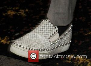 Marvin Humes' studded slip-on shoes  JLS arrive at Key 103 FM Radio Manchester, England - 05.10.12
