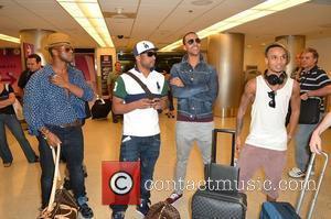 Oritse Williams, Jonathan 'JB' Gill, Marvin Humes and Aston Merrygold JLS arrive at Miami International Airport Miami, Florida - 05.05.12