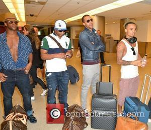Oritse Williams, Jonathan 'JB' Gill, Marvin Humes and Aston Merrygold JLS arrive at Miami International Airport Miami, Florida - 05.05.12