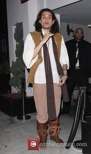 John Mayer outside Palihouse in West Hollywood wearing a medieval costume Los Angeles, California, USA - 16.06.12