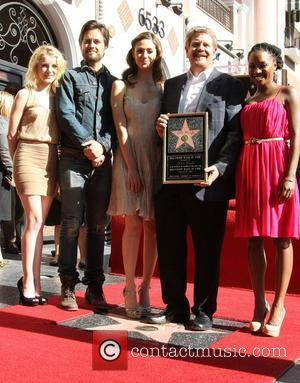 Laura Wiggins, Justin Chatwin, Emmy Rossum, John Wells and Shanola Hampton attending the John Wells Hollywood Walk Of Fame Induction...