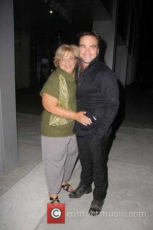 Johnny Galecki and his mother Mary Lou Galecki are seen after celebrating her birthday at BOA Steakhouse Los Angeles, California...