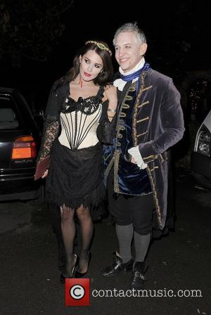 Danielle Lineker and Gary Lineker leaving a Halloween party held at the home of television presenter Jonathan Ross. London, England...
