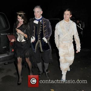 Danielle Lineker, Gary Lineker and George Lineker leaving a Halloween party held at the home of television presenter Jonathan Ross....
