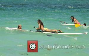'Dancing With The Stars' Karina Smirnoff seen on a paddle board during a holiday in Miami Beach Miami, Florida -...