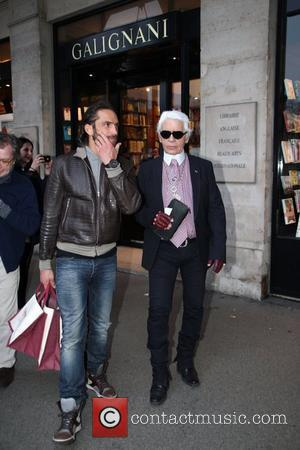 Karl Lagerfeld leaves the Galignani book store in Paris Paris, France 03.03.12
