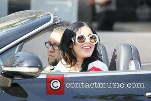 Kat Von D is seen leaving Urth Caffe wearing a knitted sweater with the American Flag emblazoned on the front...