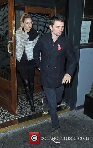 Matthew Bellamy and fiancee Kate Hudson  leaving the Groucho Club after celebrating Muse band mate Dominic Howard's birthday. London,...