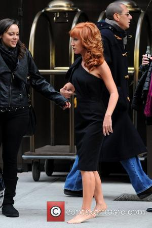 Kathy Griffin  leaves her Manhattan hotel barefoot on a very cold winter day New York City, USA - 19.01.12