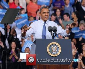 US President Barack Obama  delivers a speech at the 'America Forward' grassroots event at Doolittle Park Las Vegas, USA...