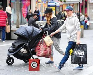 Kian Egan and his wife Jodi Albert shopping in Liverpool city centre with their baby son, Koa Liverpool, England -...