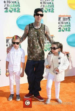 Travis Barker with son Landon Asher and daughter Alabama Luella 2012 Kids Choice Awards held at the Galen Center -...
