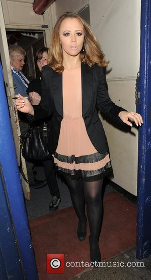 Kimberley Walsh leaves the Theatre Royal, having performed in 'Shrek: The Musical'. London, England - 05.05.12