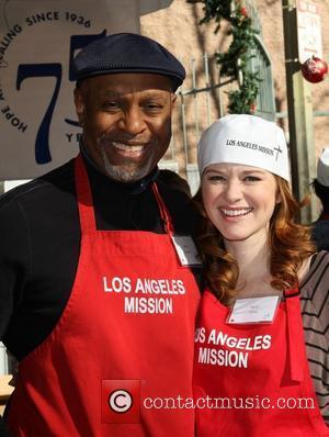 James Pickens Jr and Sarah Drew 78th Los Angeles Mission Christmas Meal For The Homeless Held At LA Mission Los...