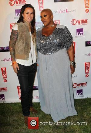 Whitney Mixter and Frenchie Davis LA Pride 2012 - Purple Party held at The West Hollywood Park - Backstage West...