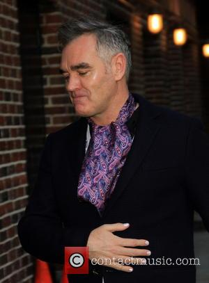 Morrissey Morrissey wears white nail polish at the Ed Sullivan Theater for 'The Late Show with David Letterman'  Featuring:...