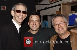 Richard Belzer visits Raul Esparza and Alan Menken backstage at the Broadway musical 'Leap Of Faith' at the St. James...