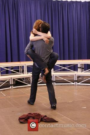 Raul Esparza and Jessica Phillips  Press rehearsal with the cast of the Broadway musical 'Leap Of Faith' at the...