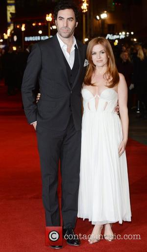 Sacha Baron Cohen, Isla Fisher, Les Miserable, Odeon, Leicester Square, London and England