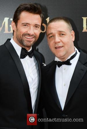 Hugh Jackman and Russell Crowe at the Australian premiere of 'Les Miserables'