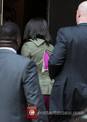 First Lady Michelle Obama Celebrities arrive at The Ed Sullivan Theater for 'The Late Show with David Letterman'  New...