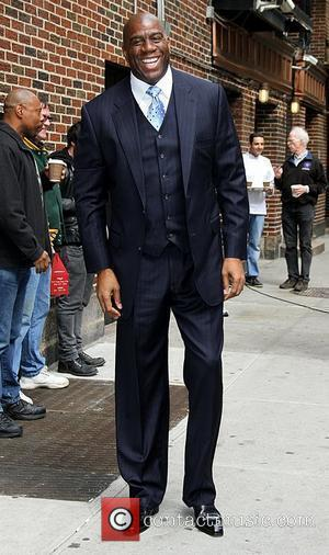 Ervin 'Magic' Johnson Celebrities arrive at the Ed Sullivan Theater for 'The Late Show with David Letterman'  New York...