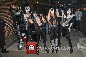 Gene Simmons, Paul Stanley, Eric Singer and Tommy Thayer of Kiss 'The Late Show with David Letterman' held at the...