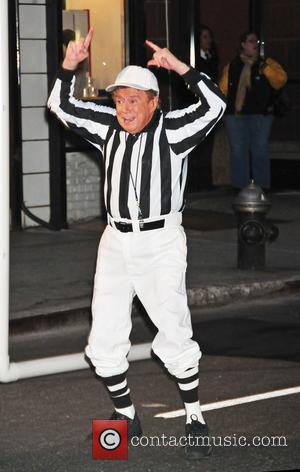 Regis Philbin participating in a football sketch for 'The Late Show with David Letterman' New York City, USA - 31.01.12