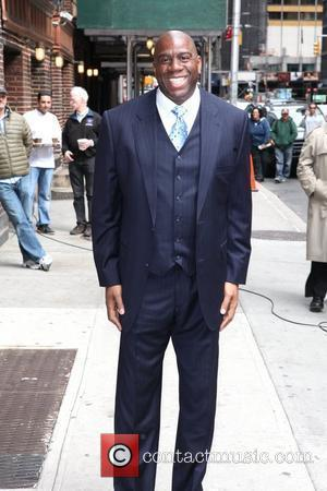 Magic Johnson Celebrities arrive at the Ed Sullivan Theater for 'The Late Show with David Letterman'  New York City,...