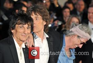 Keith Richards, Ronnie Wood, Mick Jagger, Rolling Stones and Odeon Leicester Square