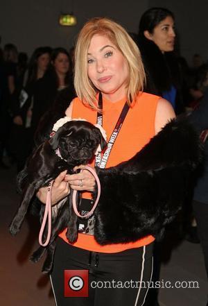 Brix Smith-Start with her dog Gladys London Fashion Week - Autumn/Winter 2012 - Felder Felder - Front Row London, England...