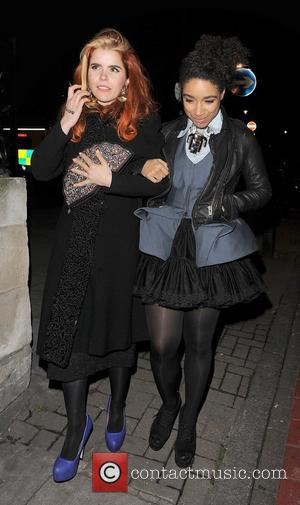 Lianne La Havas and Paloma Faith leaving the Scala in Kings Cross, after Lianne had performed there earlier in the...