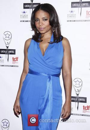 Sanaa Lathan wearing a blue Catherine Malandrino jumpsuit The 2012 Lucille Lortel Awards held at NYU Skirball Center - Arrivals...