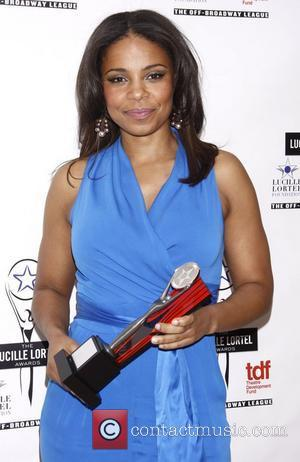 Sanaa Lathan wearing a blue Catherine Malandrino jumpsuit The 2012 Lucille Lortel Awards held at NYU Skirball Center - Press...