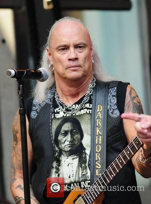 Rickey Medlocke of Lynyrd Skynyrd performs live outside Fox News studio as part of the Fox and Friends All-American concert...