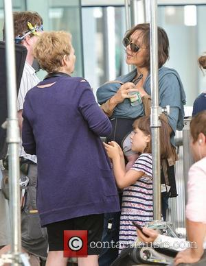 Maggie Gyllenhaal and her daughters visit her mother Naomi Foner on the set of 'Very Good Girls.' New York City,...