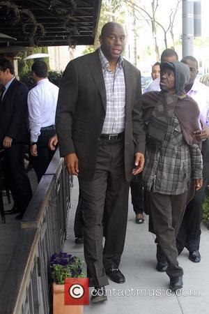 Magic Johnson leaving lunch in Beverly Hills Los Angeles, California - 03.04.12