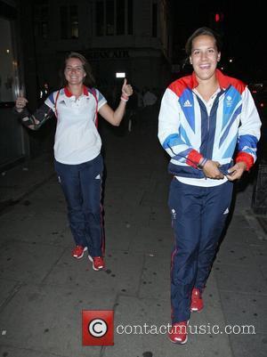 Olympic javelin thrower Goldie Sayers (left),  at Mahiki nightclub London, England - 11.09.12