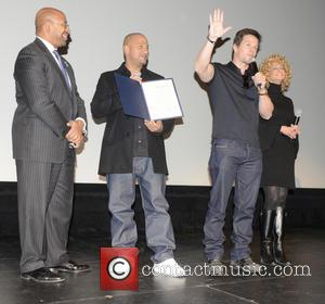 Philadelphia Mayor Michael Nutter, L, C, Film, Allen Hughes and Mark Wahlberg