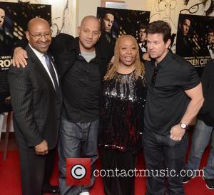 Philadelphia Mayor Michael Nutter, L, C, Film, Allen Hughes, Guest and Mark Wahlberg
