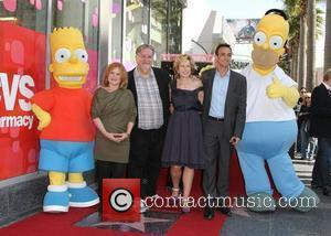 Nancy Cartwright, Hank Azaria, Matt Groening, Yeardley Smith and Star On The Hollywood Walk Of Fame