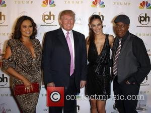 Tia Carrerra, Donald Trump, Dayana Mendoza, Arsenio Hall 2012 Miss USA Pageant at Planet Hollywood Resort and Casino - Red...