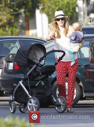 Monet Mazur and son Luciano taking a stroll in Los Feliz Los Angeles, California - 18.02.12